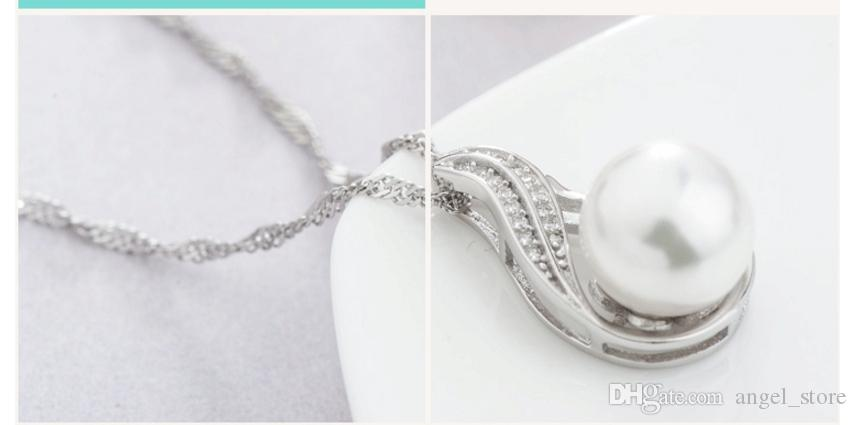 Genuine 925 Sterling Silver Clear CZ Perfect Round Shell Pearl Pendant Chain Necklace fit for Women Party Jewelry