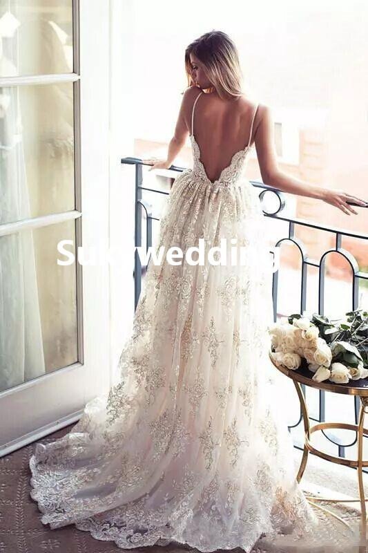 Modest Lace Backless Country Wedding Dresses A-Line Spaghetti Straps Illusion Bodice Bridal Gowns vestidos de novia Wedding Gowns