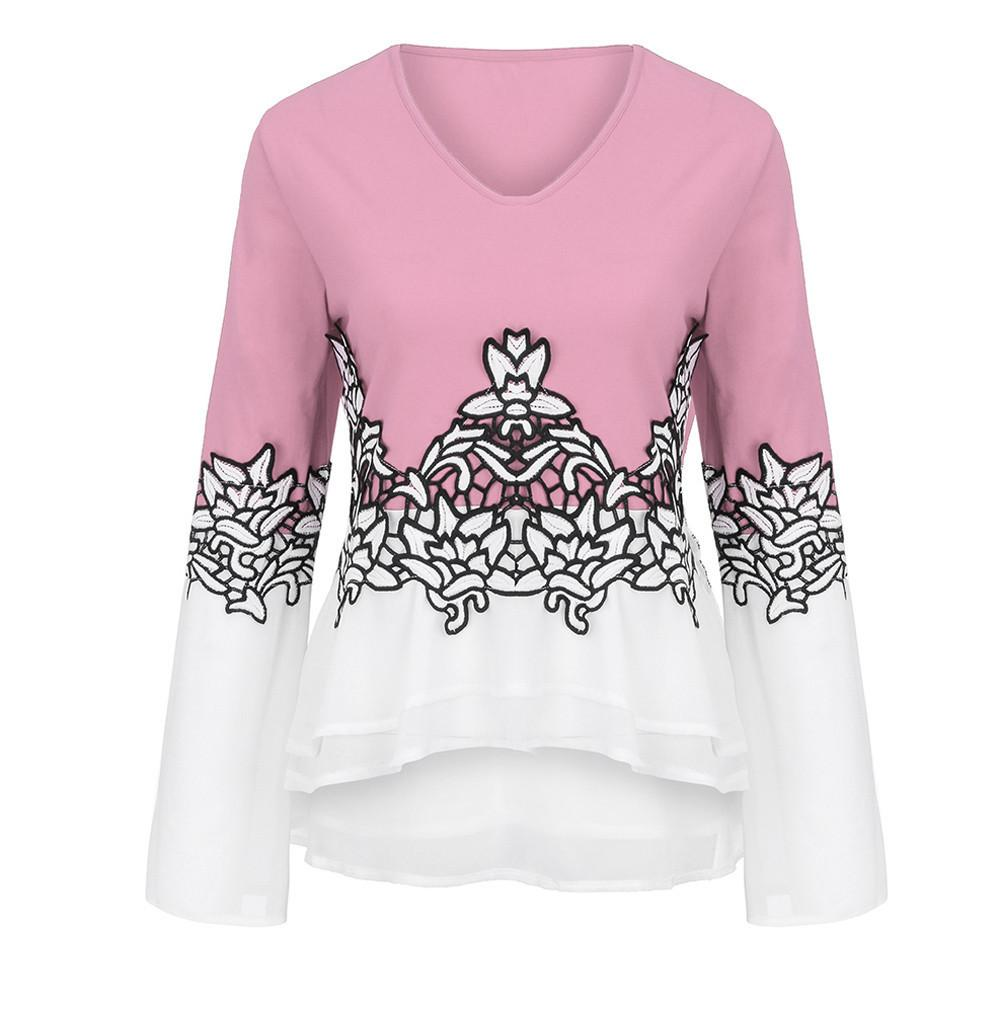 e28b4c58d16 Women Plus Size Flower Lace Color Block Chiffion Blouses Fashion ...