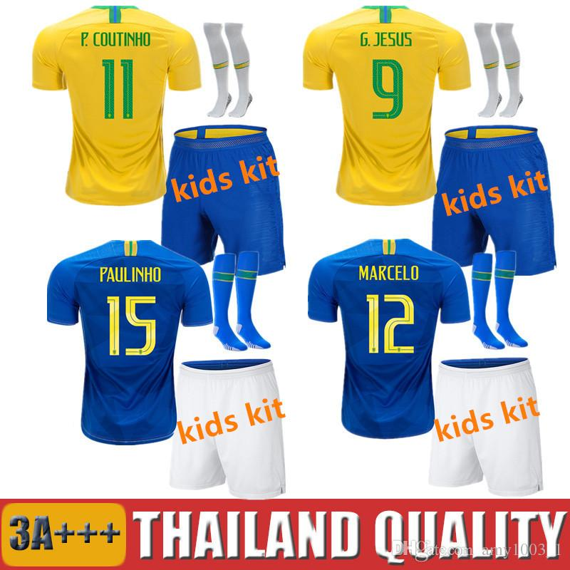 2018 FIRMINO World Cup Kids Soccer Jersey G.JESUS P.COUTINHO MARCELO ... 8e8f0caa3