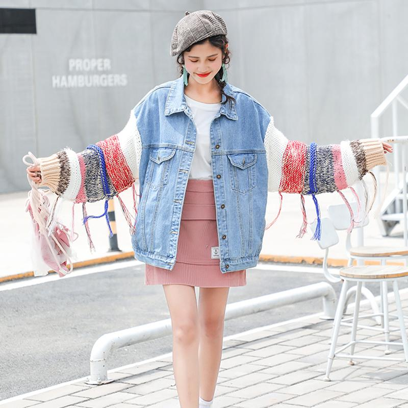 adad66242 New 2018 Autumn Winter Women Ladies Long Wool Sleeve BF Denim Jacket Jean  vintage loose Coat Outwear Harajuku Oversize Jacket