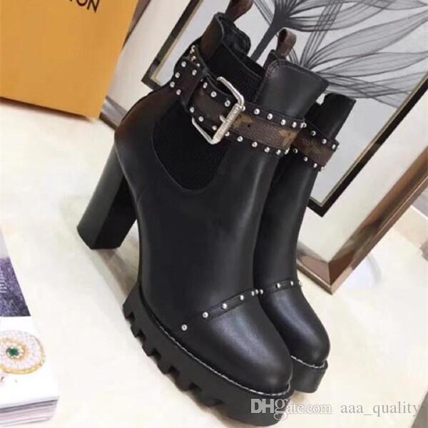 9e7b8fe4dac3 Star Trail Chelsea Ankle Boot Womens Chunky Heels Martin Boots Black Leather  With Monogram Boots Winter Warm Botas Luxury Brand Lady Bootie Low Boots  Cheap ...