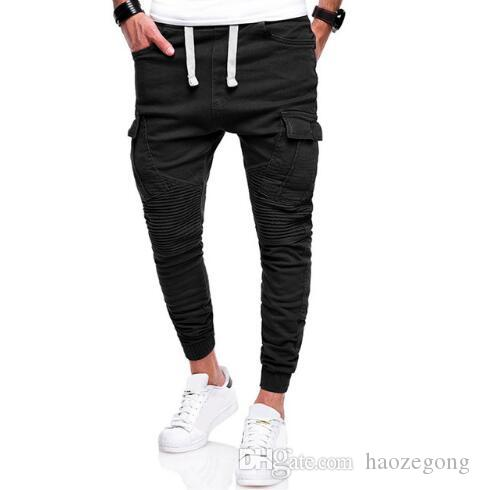 Pleated Plain Drawstring Joggers Men39s Workout Apparel in 2018 8a7f70b8f0ce9