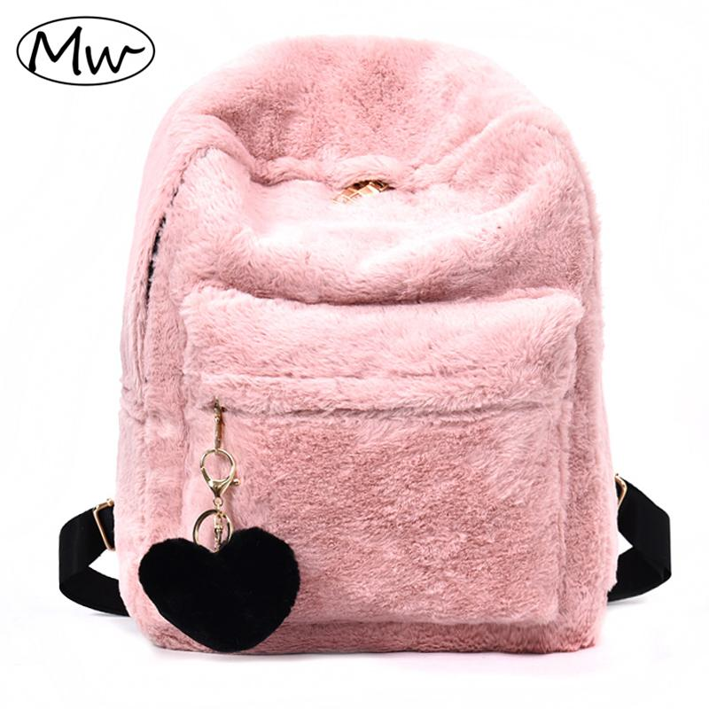 38a6148b1f 2019 Moon Wood Cute Solid Faux Fur Backpack Heart Pendant Winter Soft  Women S Big Plush Backpack Pink Black White Rucksack Mochila Messenger Bags  Leather ...