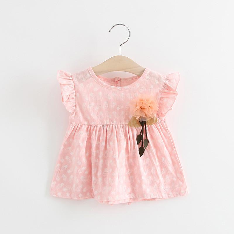 Baby Girl Dress Baby Summer Cotton Girls Kids Dress Pineapple Pattern Printing Clothes Flower Decoration Baby Newborn Clothes