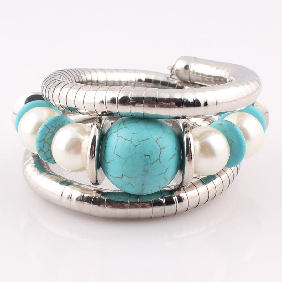 Flexible Snake Bracelet Multi Wrap Silver Antique Tibetan Bangle Beaded Memory Wire Women Bracelet Chain Jewelry Simple Bangles Gifts H82F