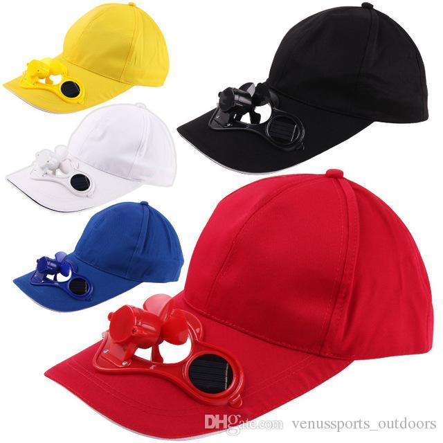 Compre Sombrero De Gorra De Energía Solar Que Se Refresca Ventilador Fresco  Para El Deporte Gorras Enarboladas Gorras De Béisbol De Béisbol De Golf Al  Aire ... 33532bc0193