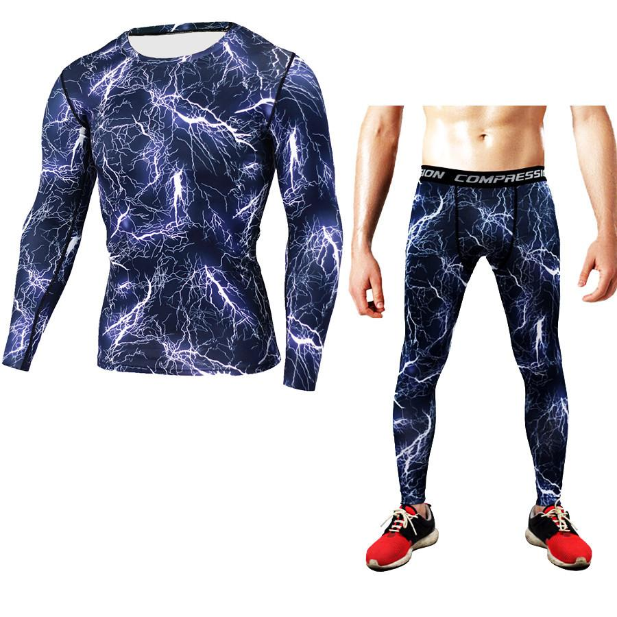 Hot 2018 Brand New Dry Fit Compression Tracksuit Fitness Tights Wicking Long T-Shirt Leggings Men'S Clothing Running Set Sport Suit