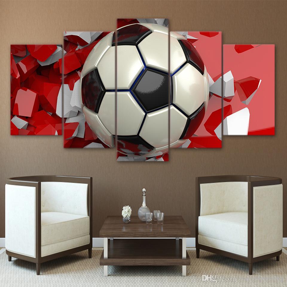 HD stampato 5 pezzo di arte della parete di calcio pittura immagini a parete soggiorno moderno sport poster spedizione gratuita