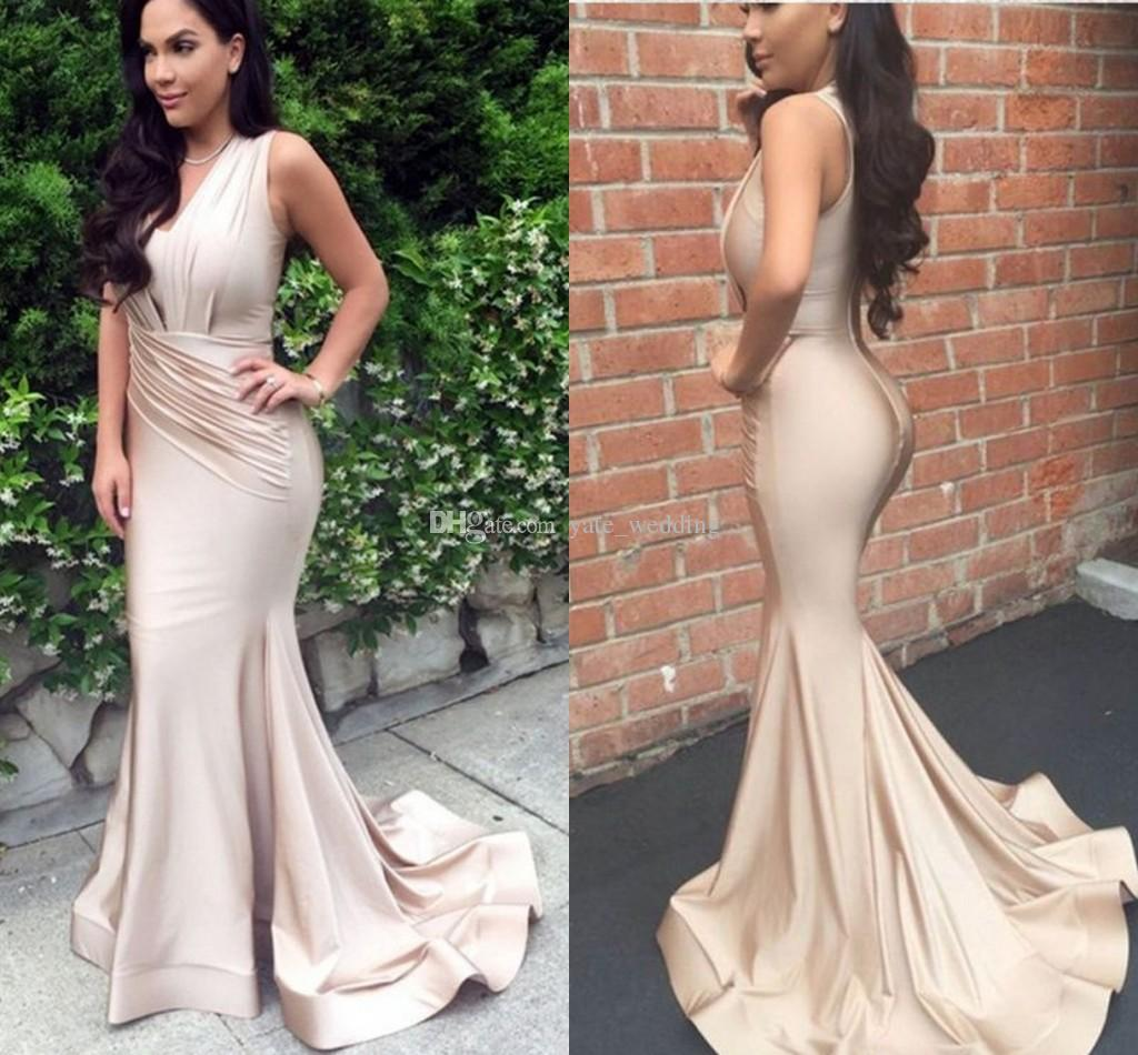 c771e325eae Simple Champagne Satin Mermaid Evening Dresses V Neck Sleeveless Pleated  African Aso Ebi Mermaid Prom Dresses Long Party Dress Evening Dress Formal  Evening ...