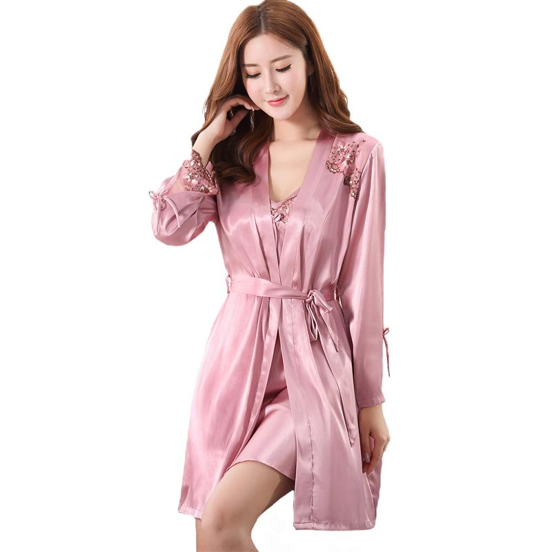 91e729cd6b 2019 Sexy Women Nighty Robe Home Wear 2018 Summer Floral Sleep Set Casual  Kimono Bathrobe Solid Sleepwear Nightwear M XXL From Guocloth