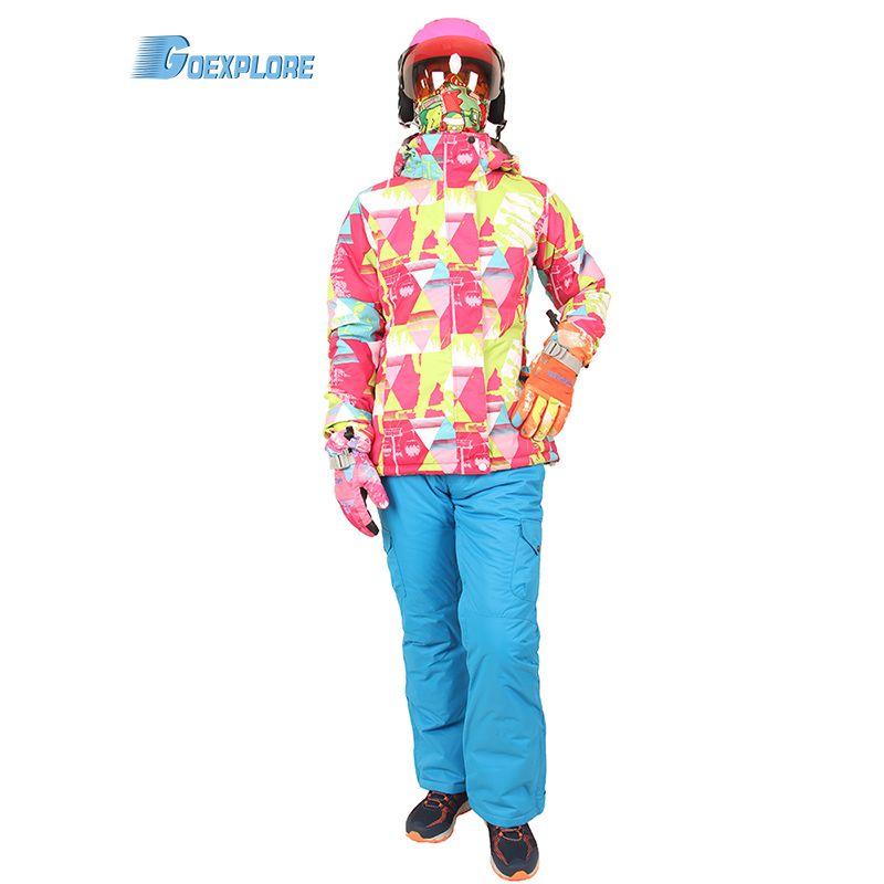 6dd7672629 Goexplore Ski Suit Female Winter Windproof Waterproof Girls Jacket Snow Skis  Jumpsuit Snowboard Skiing Mountain Sport Suit Women Jacket And Pants Sports  ...