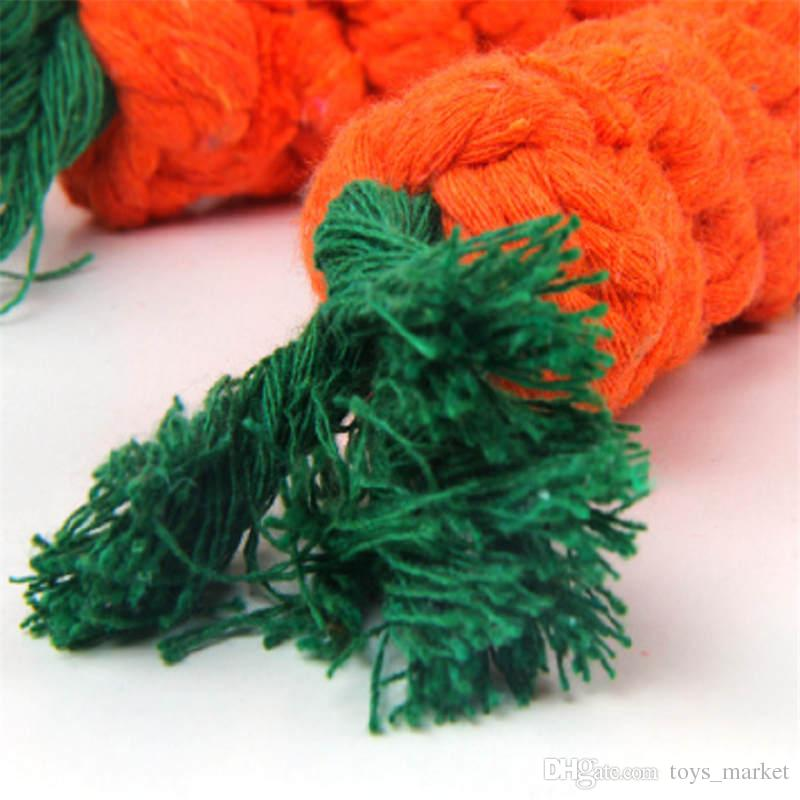 Carrot Shaped Knot Ropes Pet Dog Toys Chew Cat Toy Safe Toys for Small Dogs Molar Biting Playing Braided Cotton Rope Puppy Toys
