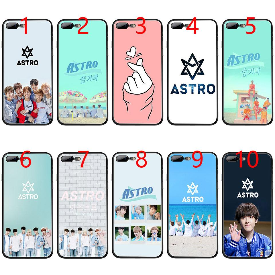 sports shoes 1e188 fcc55 KPOP ASTRO Heart shaped Soft Black TPU Phone Case for iPhone XS Max XR 6 6s  7 8 Plus 5 5s SE Cover