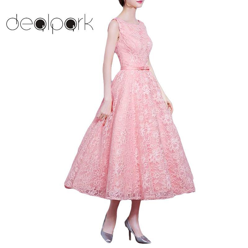 3a4793ad6c32 2019 Vintage Women 1950s Elegant Floral Lace Dress Elegant Solid Color O Neck  Sleeveless V Back Bowknot Evening Party Swing Dress From Macloth, ...