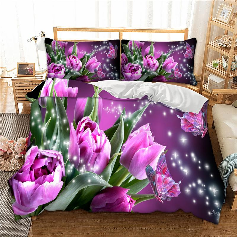 Floral Bed Linen Set Twin Full Queen King Uk Double Size 3d Bedding