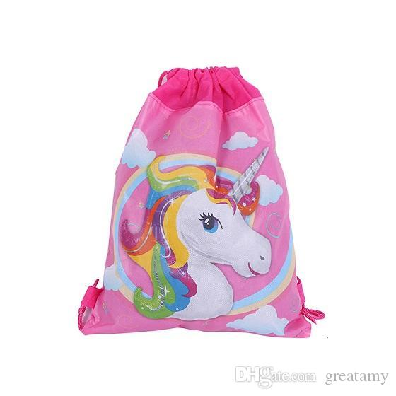 Unicorn Non Woven Bundle Pockets Study Storage Bag Drawstring Kids Backpack  Girls Boys Pouch Gift Bags Children Travel Storage Schoolbag Leather  Backpack On ... 6bf4ab74dee95