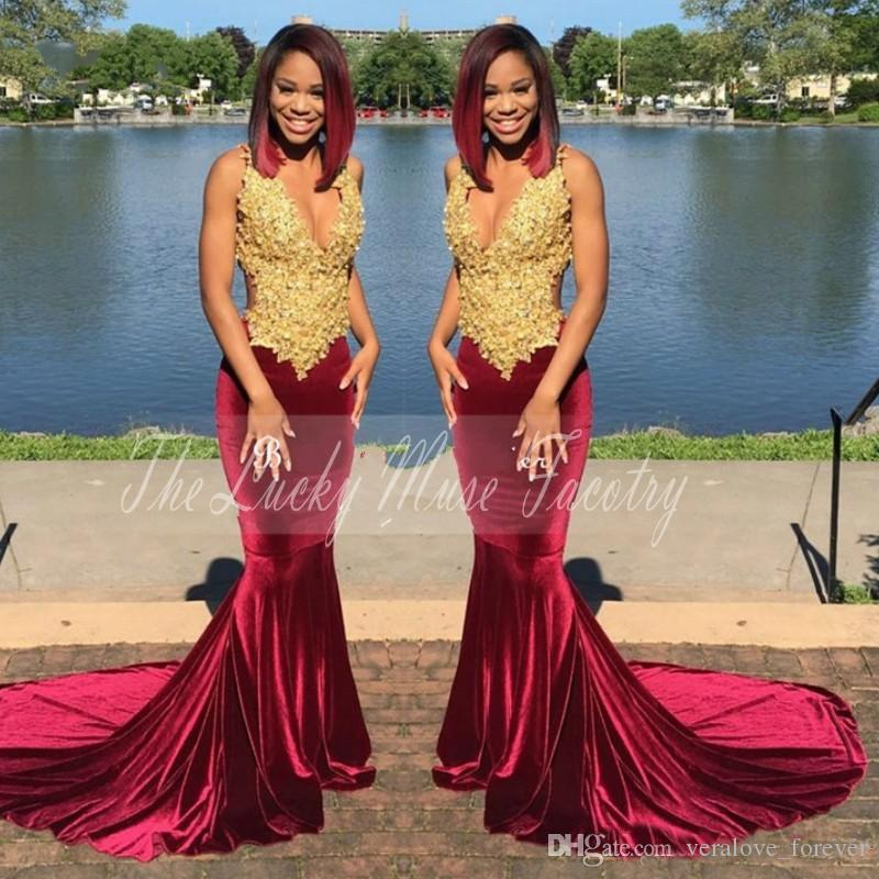 a88f70088501 Gold And Burgundy Velvet Prom Dresses 2018 With Straps Lace ...