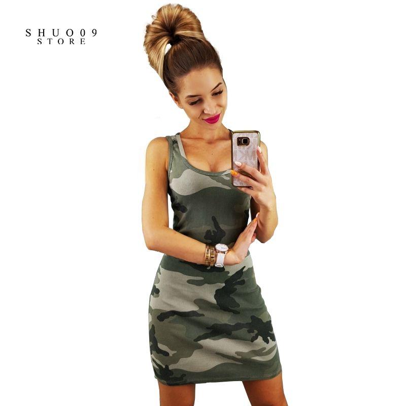 78bdaeacda2f9 2019 2018 New Fashion Sexy Camo Print Slim Sleeveless Dress Army Green  Camouflage Womens Tank Dress Vestidos From Matilian, $37.33   DHgate.Com