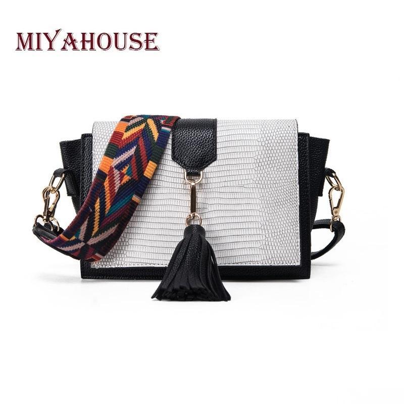 Miyahouse Fashion Serpentine Design Female Messenger Bag With Tassel  Colorful Strap Women Shoulder Crossbody Bag Women Flap Bag Y18102604 Laptop  Bags ... ed687751a0701