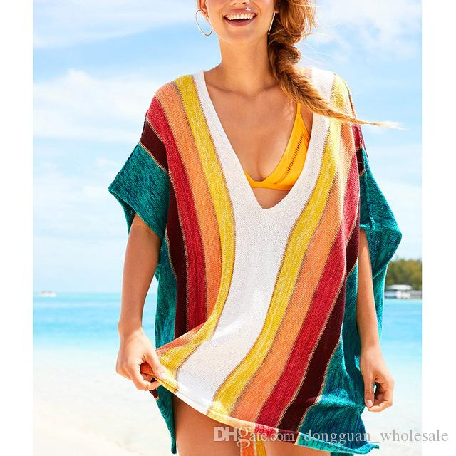 1ae7487f359f4 2019 Bikini Covers Up Beach Coat Knitted Bikini Cover Up Swimsuit Cover Ups  Colorful Beachwear Sun Protection Clothes From Dongguan_wholesale, ...