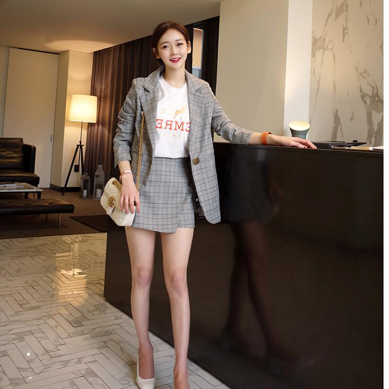 e0e808c4f4072 2019 Fashion Set Women Houndstooth Skirt Suits Career Office Lady Blazer & Skirt  Coat Jacket Spring Wear Business Casual From Yukime, $76.41 | DHgate.Com