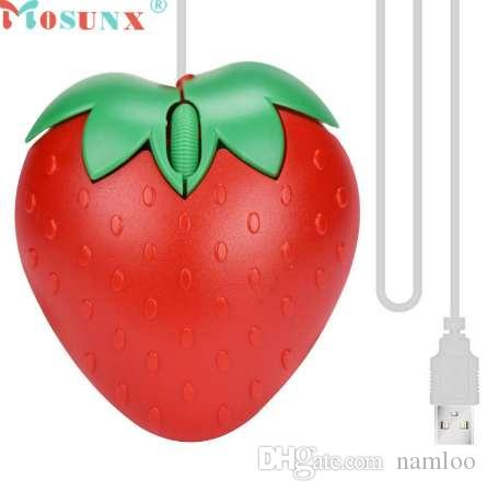 Adroit New Fashion Cute Red Strawberry Optical USB LED Wired Game Mice Mouse For PC Laptop Computer May16 drop shipping