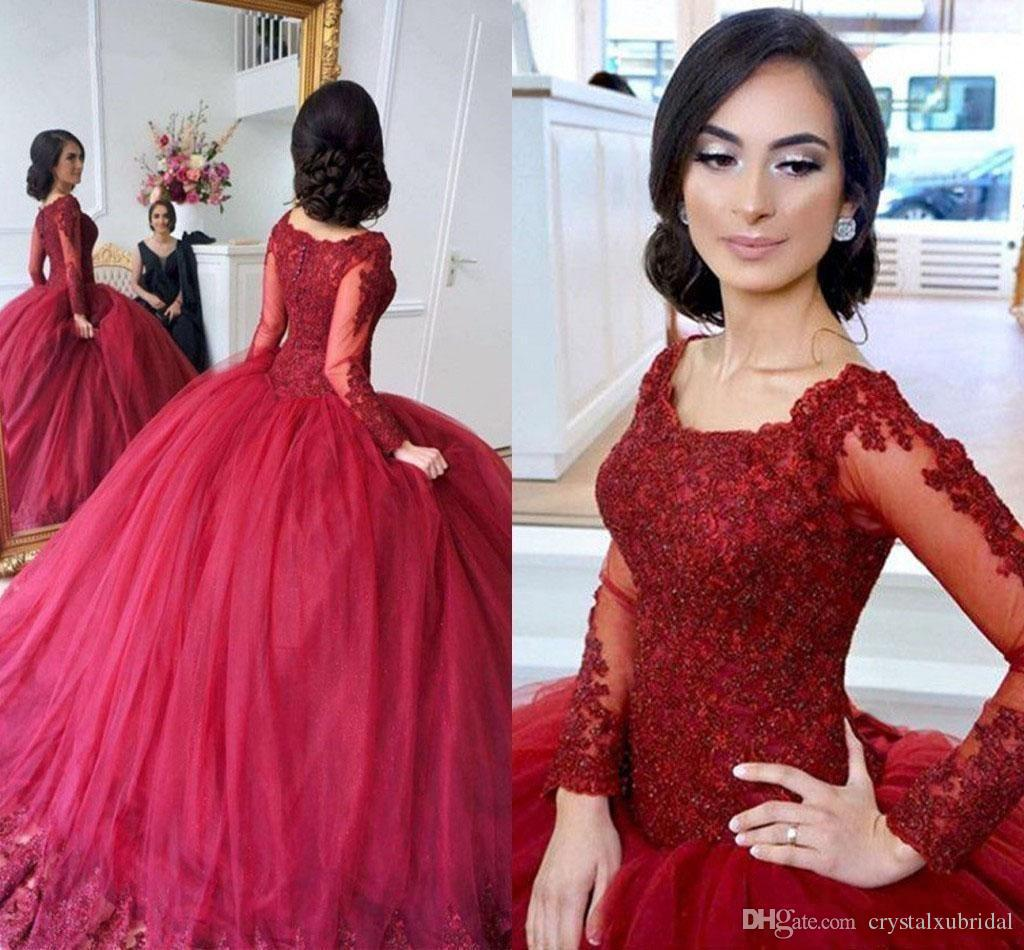 7c1ce6cb3df 2018 Burgundy Ball Gown Quinceanera Dresses Scoop Neck Long Sleeves Lace Applique  Beaded Sweet 16 Puffy Party Pageant Prom Evening Gowns Light Blue ...