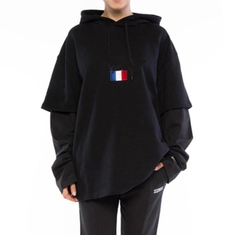 Marke Männer Hoodies Winter Vetements Hip Hop Frankreich Flagge Vetements Sticken Hoodies Pullover Schwarz Designer Sweatshirts S-XL