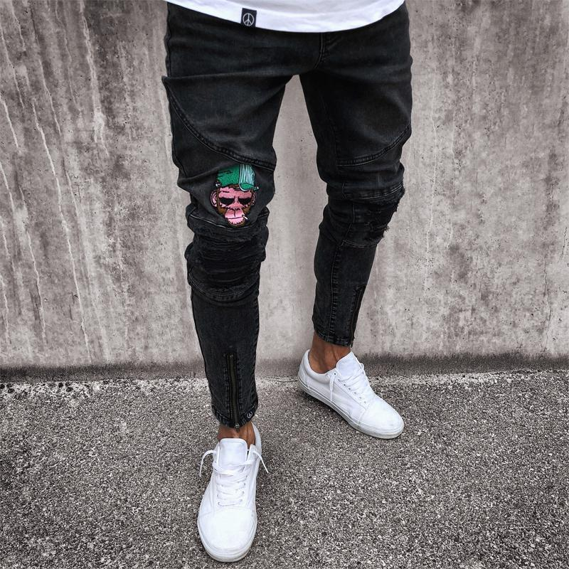 10424005 Men's Jeans Stretchy Ripped Skinny Biker Jeans Cartoon Pattern Destroyed  Taped Slim Fit Black Denim Pants 2018 New