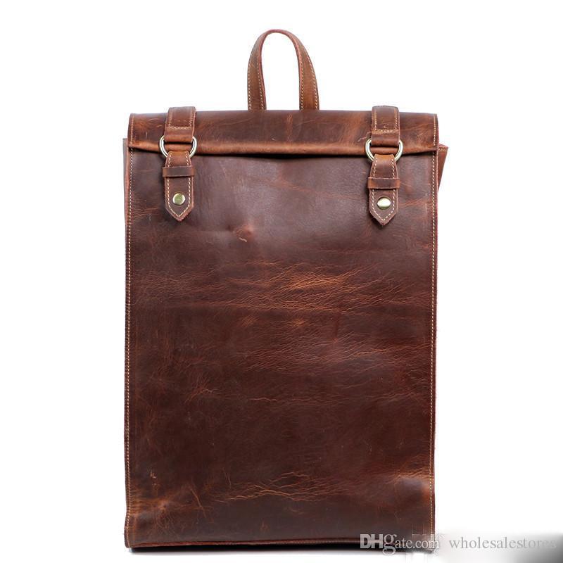 Взрыв новых мужская сумка ретро мужская сумка персонализированные мужские сумки ручной работы кожаный рюкзак crazy horse кожа бесплатная доставка