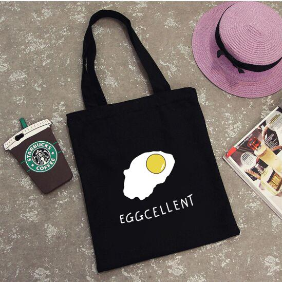 1e780e5cf New Korea harajuku Girl Casual Tote Cartoon Fried Eggs Messenger Bag  Women's Canvas Shopping bag Poached Egg Handbags