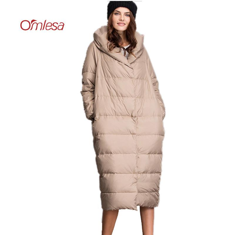 d558fa2ff OMLESA Cocoon Duck Down Jackets Women Brand 2017 New Fashion X-Long Puffer  Coat Luxury Thicken Loose Down Parka Female 4XL YQ277
