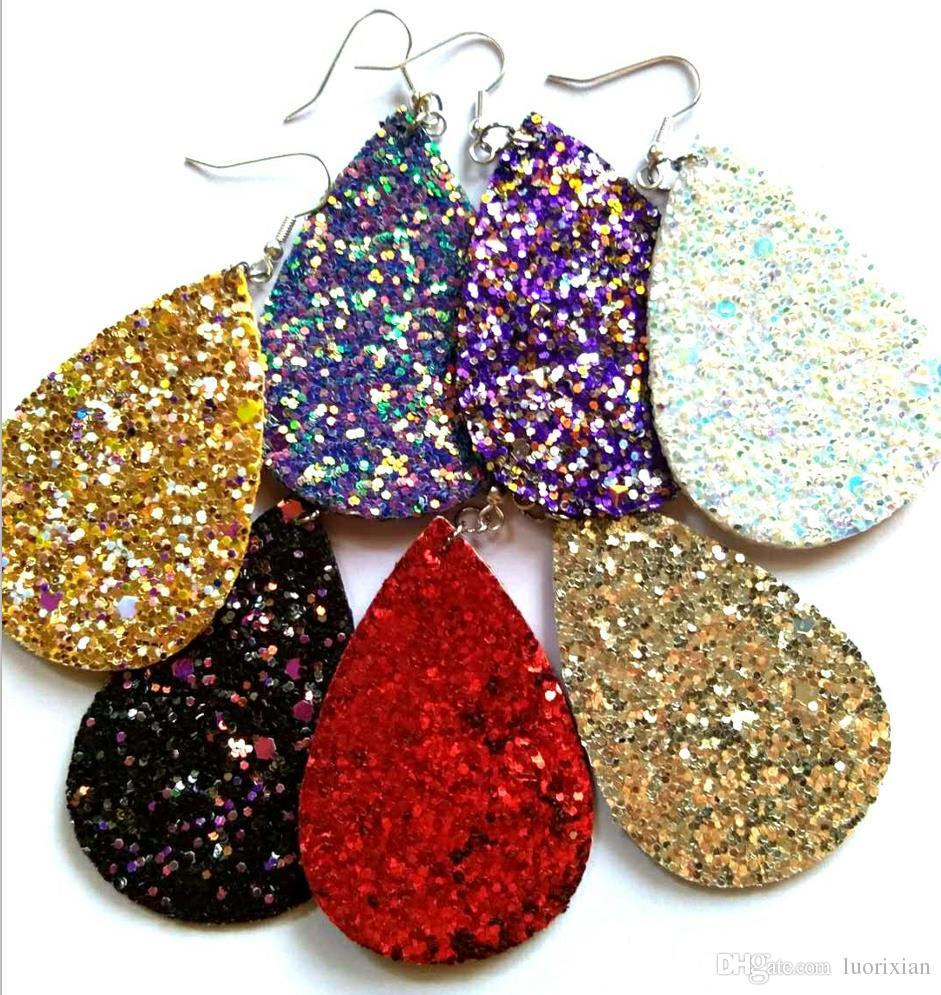 Boho PU Leather Teardrop Dangle Statement Earrings for Fashion ... af5cbb5ad981