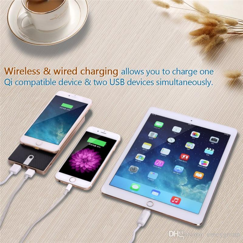 Batteria esterna Ultra Thin 2 USB 10000 mah Wireless Power Bank Caricatore portatile Qi iPhone X 8 Samsung S8 S6 S7 Edge