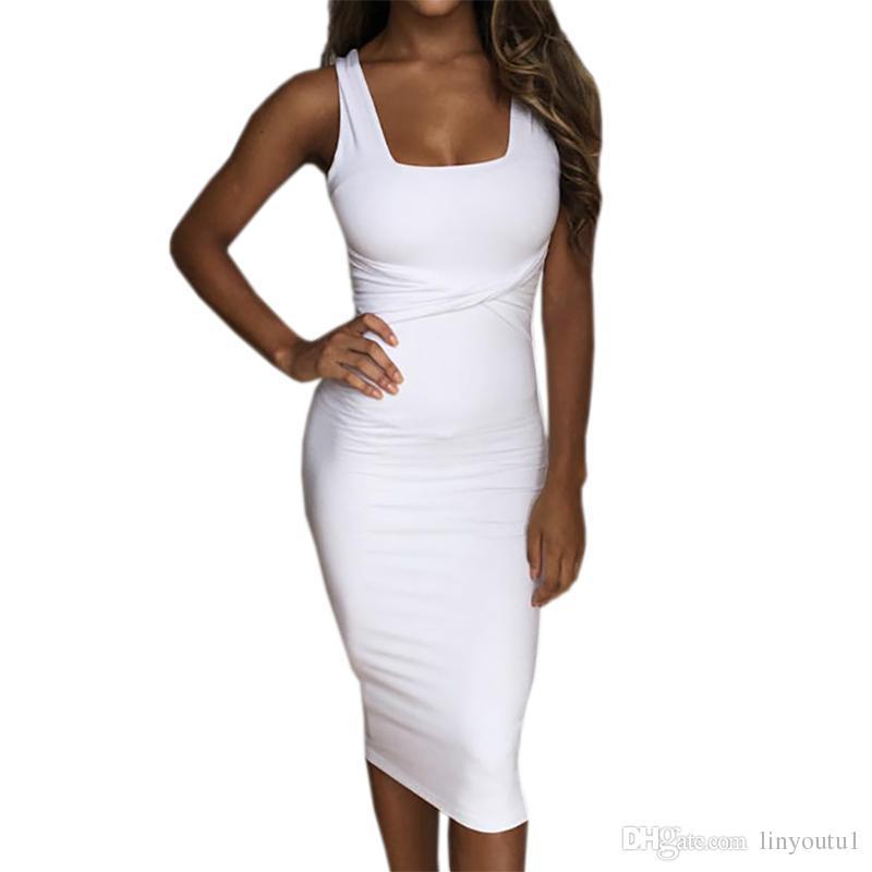 Women Summer Bodycon Dress 2018 Scoop Collar Sleeveless O Neck Sexy Midi  Dresses Sheath Clubwear Femme Party Slim Dress GV575 Dress Shirt Corset  Dress From ... 1734c71eb