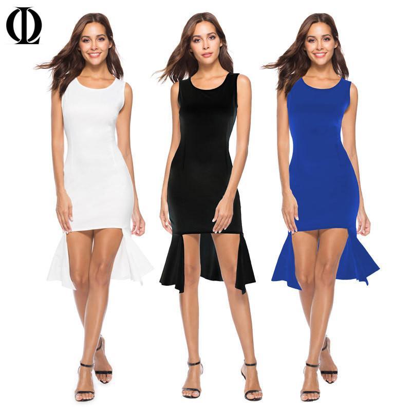 2d44685e71c14 Satın Al OL Yeni Kadın Mermaid Elbise Bölünmüş Beyaz Elbise Kolsuz O Boyun  Düz Renk Seksi Moda Ofis Bayan Mini Elbiseler, $30.9 | DHgate.Com'da