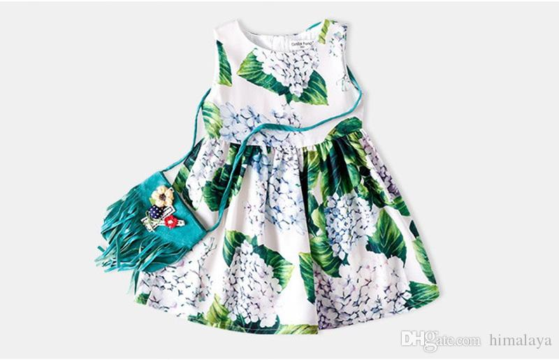 7b04a5042b133 2019 Baby Girls Purple Flowers Dresses 2018 Kids Summer Jumper Dress  Children Floral Casual Clothing For 90 140cm From Himalaya