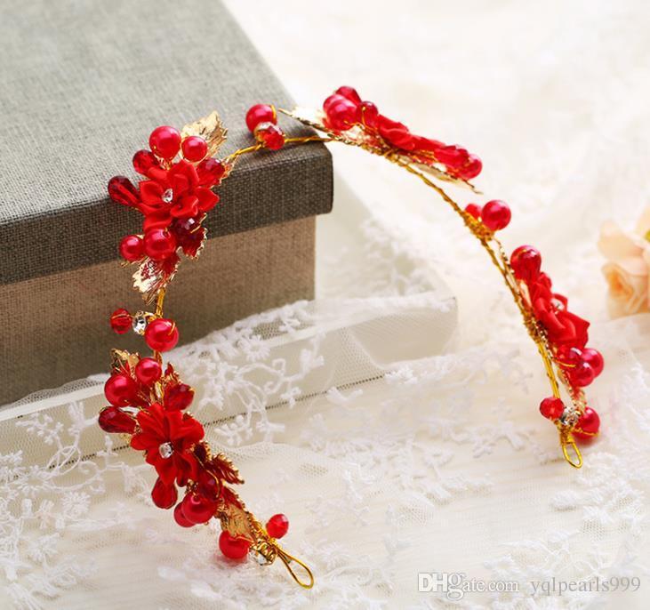 Düğün kırmızı çiçek baş süs gelinlik