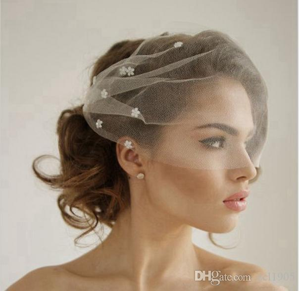 02c52e4a554 Classic Silk Tulle Birdcage Wedding Veil With Flowers Headband Veil Short  Bridal Veils White Ivory Tulle Birdcage Veils Veils And Tiaras Veils Bridal  From ...