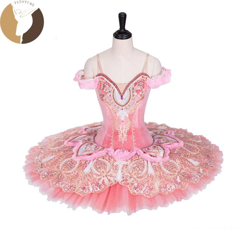 287becd494 Compre FLTOTURE AT1297 Pink Ballet Tutu Profesional Ballet Pancake Tela De  Terciopelo Con Adornos De Encaje Faldas Sueño Belleza Disfraces A  625.88  Del ...