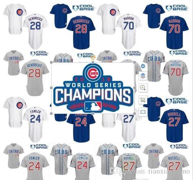 online store ec7c7 fdd83 2016 World Series Champions patch Mens Cubs Jerseys 28 Hendricks 24 Dexter  Fowler 70 Joe Maddon 27 Addison Russell Baseball Jersey