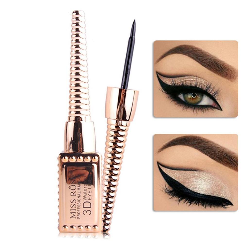 2018 Miss Rose Tube Gold Plated Liquid Eyeliner Black Eye Makeup