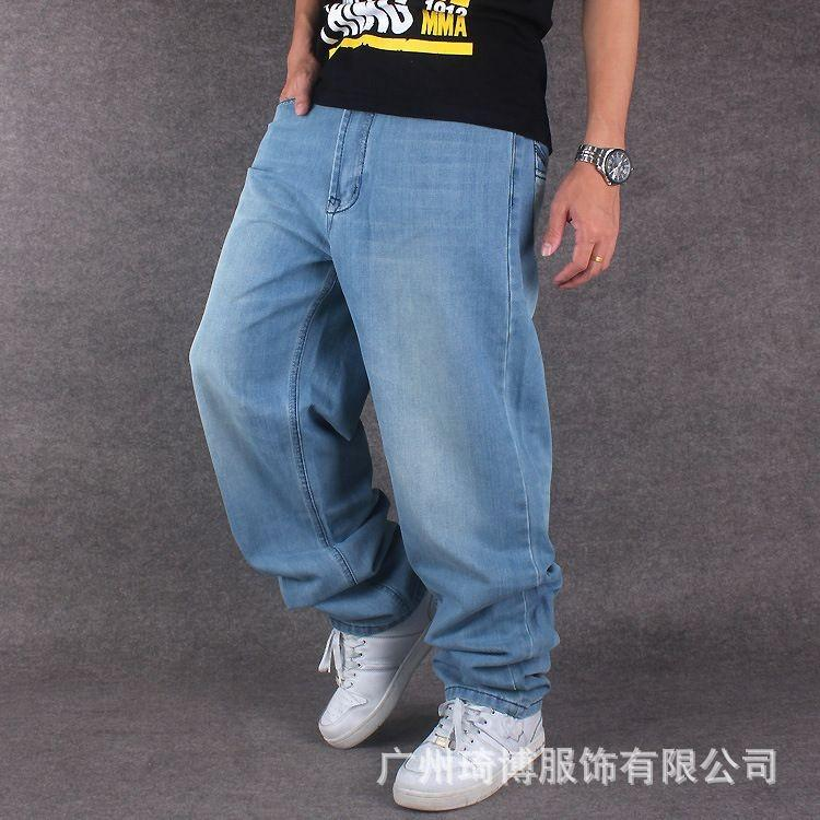 Compre Pantalones Vaqueros De Pierna Ancha Para Hombre Pantalones Vaqueros  De Mezclilla Azul Claro Hip Hop Pantalones Vaqueros Baggy Para Rapero  Monopatín ... 8f6d15f9677