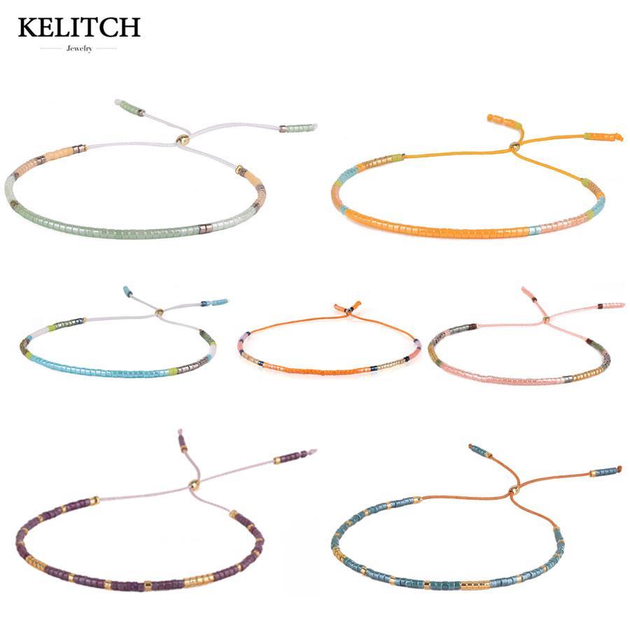 7e30987830b8e KELITCH bracelet Jewelry Friendship Bracelets Bohemia Beige Crystal Seed  Beads Romantic Handmade Adjustable Bracelet for gifts