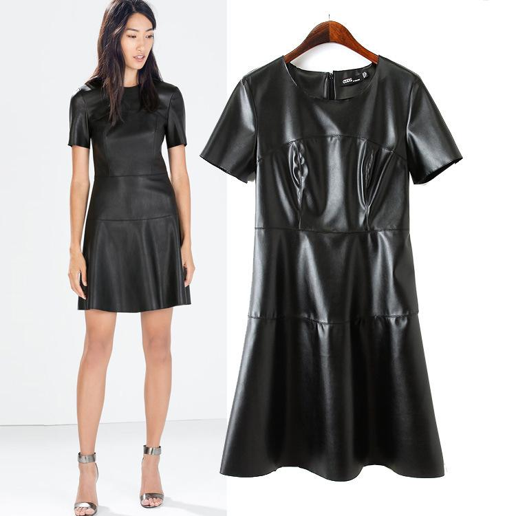 bbb611f15942 2019 Hot Sale Women Fashion Leather Dress O Neck Black Dress Casual Short  Sleeve Sexy Autumn PU WQZ17183 From Hongkonglady, $26.24 | DHgate.Com