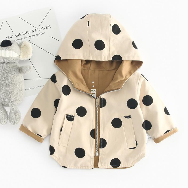 41ac460ae62f Spring Autumn Boys Girls Jackets For Children Hooded Cute Dot ...