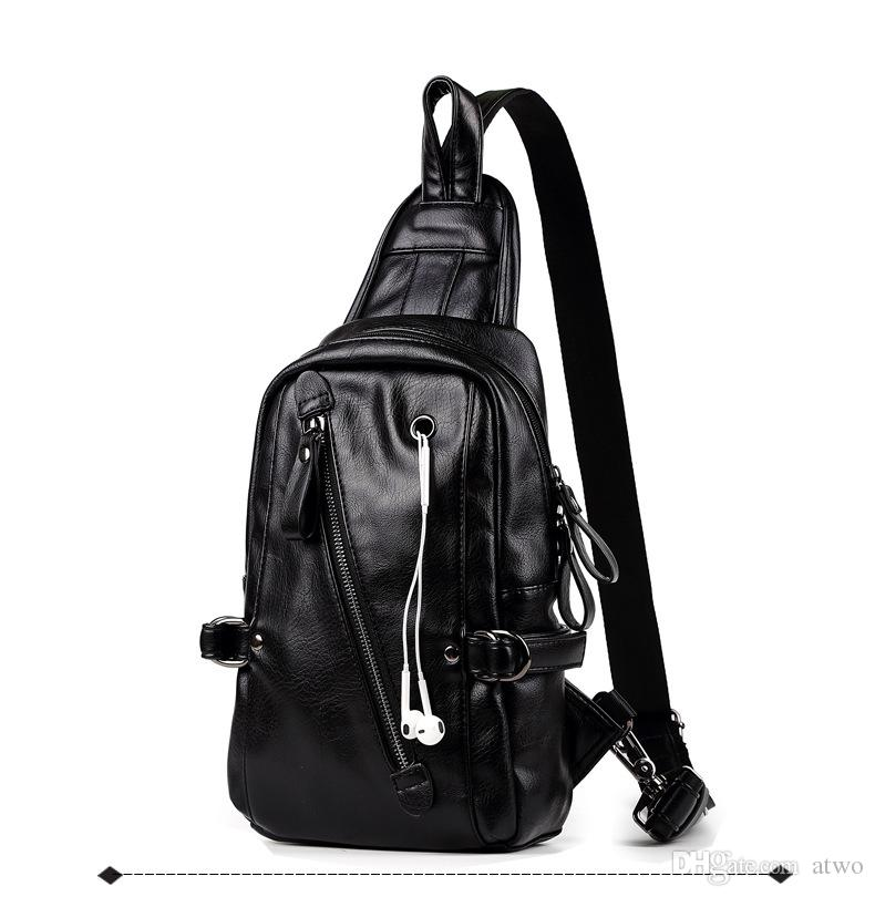 new arrival 1802f b453b atwo Shoulder Bags with headphone jack men Fashion Bags Plain Black pu  outdoor Waterproof Big Travel Bags free shipping