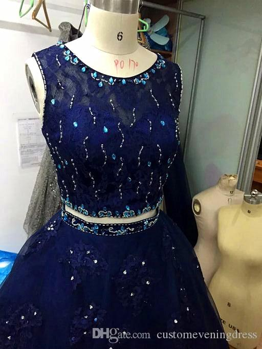 Navy Blush Aqua Blue Quinceanera Ball Gown 2018 Lace Applique Tulle See Through Back prom dress