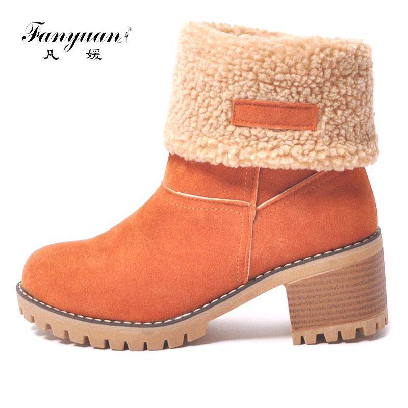 2018 New Big Size Women Snow Boots Thick Bottom Platform Waterproof Ankle  Boots For Women Thick Warm Fur Winter Warm Boots Shoe Sale Pumps Shoes From  ... 5b388df4bd